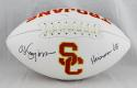 O. J. Simpson Autographed Trojans Logo Football With Heisman- JSA Witnessed Auth