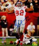Michael Strahan Autographed New York Giants 8x10 Flexing Photo- JSA W Auth