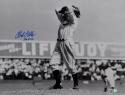 Bob Feller Signed Cleveland Indians 8x10 HOF B&W Pitching Photo- MLB Auth*Blue
