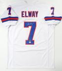 John Elway Autographed White Pro TB Style Jersey- JSA Witnessed Auth