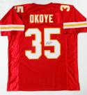 Christian Okoye Autographed Red Pro Style Jersey- JSA Authenticated *5