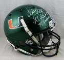 Warren Sapp Signed F/S Miami Hurricanes Green Helmet W/ 2 Insc- JSA W Auth *White