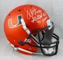 Warren Sapp Signed F/S Miami Hurricanes Orange Helmet W/ 2 Insc- JSA W Auth *White