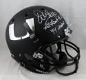 Warren Sapp Signed F/S Miami Hurricanes Black Helmet W/ 2 Insc- JSA W Auth *White