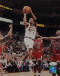 Allen Iverson Signed Philadelphia 76ers 8x10 Shooting PF- JSA Auth *Blue