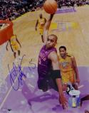 Vince Carter Autographed Raptors 8x10 Up Close Dunk PF- JSA Auth *Blue