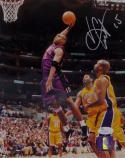 Vince Carter Autographed Raptors 8x10 Dunk Side View PF- JSA Auth *Silver