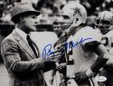 Roger Staubach Signed Cowboys 8x10 BW with Tom Landry *Blue Photo- JSA W Auth