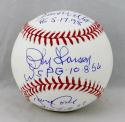 Wells, Cone, & Larsen Signed Rawlings OML Baseball w/ Perfect Games- JSA W Auth