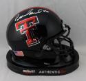 Patrick Mahomes II Signed Tx Tech Black w/ Stripe Mini Helmet - JSA W Auth *Wh