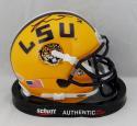 Tyrann Mathieu Autographed LSU Yellow Schutt Mini Helmet - Beckett Auth *Black