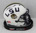 Tyrann Mathieu Autographed LSU White Schutt Mini Helmet - Beckett Auth *Black
