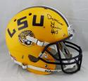 Derrius Guice Autographed LSU Tigers Yellow Full Size Helmet - JSA W Auth *Black