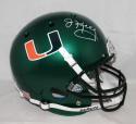 Jim Kelly Autographed Miami Hurricanes Green Schutt F/S Helmet - JSA W Auth *White