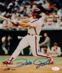Pete Rose Autographed 8x10 Cincinnati Reds Swinging PF Photo-JSA W Auth *Blue