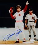 Pete Rose Signed 8x10 Cincinnati Reds On Base Pointing Photo-JSA W Auth *Blue