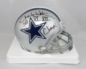 Charlie Waters Autographed Cowboys Mini Helmet w/ Insc- Jersey Source Auth *Black