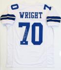 Rayfield Wright Autographed White Pro Style Jersey w/ HOF- JSA W Auth *7