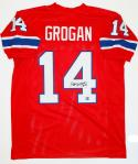 Steve Grogan Autographed Red Pro Style Jersey - The Jersey Source Auth *4