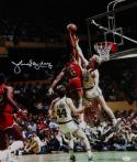 Julius Erving Autographed 76ers 16x20 Dunking On Bird Photo- JSA W Auth *White
