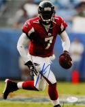 Michael Vick Autographed Atlanta Falcons 8x10 Running Red Jersey Photo- JSA Auth *Blue