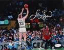 Larry Bird Autographed Celtics 8x10 vs Michael Jordan- JSA Auth *Silver