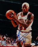 Dennis Rodman Autographed Chicago Bulls 8x10 with Ball- JSA Auth *Blue