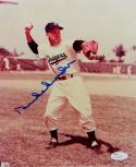 Duke Snider Autographed Dodgers 8x10 Throwing Photo- JSA Auth *Blue