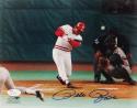 Pete Rose Autographed 8x10 Cincinnati Reds Swinging PF Photo-JSA Auth *Blue