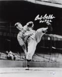 Bob Feller Signed Cleveland Indians 8x10 HOF B&W Pitching Photo- MLB Auth*Silver