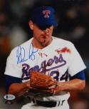 Nolan Ryan Autographed Rangers 8x10 Bloody Lip Photo- Beckett Auth *Blue