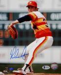 Nolan Ryan Autographed Rangers 8x10 Rainbow Jersey PF Photo- Beckett Auth *Blue