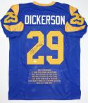 Eric Dickerson Autographed Blue Pro Style Stat3 Jersey W/ HOF- JSA W Auth *2
