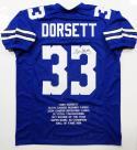 Tony Dorsett Autographed Blue Pro Style Stat Jersey- JSA W Auth *R3 Stat1