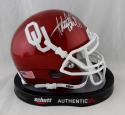 Adrian Peterson Autographed Oklahoma Sooners Schutt Mini Helmet- JSA W Auth *Silver