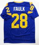 Marshall Faulk Autographed Blue/Yellow Pro Style Jersey- Beckett Auth *2