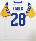 Marshall Faulk Autographed White Pro Style Jersey- Beckett Auth *2