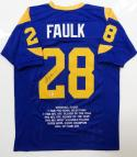 Marshall Faulk Autographed Blue Pro Style STAT Jersey- Beckett Auth *2