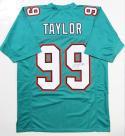 Jason Taylor Autographed Teal Pro Style Jersey- JSA Witness Authenticated *R9
