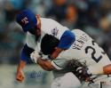 Nolan Ryan Signed Texas Rangers 16x20 Fighting Photo- AI Verified/Ryan Holo *Blue