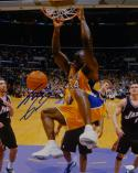 Shaquille O'Neal Autographed 16x20 Lakers Dunking vs Jazz Photo-JSA W Auth *Blue