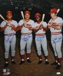 Perez, Bench, Morgan, Rose Autographed 16x20 Big Red Machine Photo PF- JSA Auth