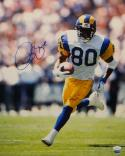 Isaac Bruce Autographed Rams 16x20 Vertical Running White Jersey Photo- JSA Auth
