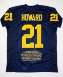 Desmond Howard Autographed Navy Blue College Style Stat Jersey- JSA Auth