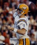 Bert Jones Autographed LSU 16x20 Passing Photo W/ Ruston Rifle and JSA W Auth