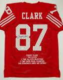 Dwight Clark Autographed Red Pro Style Stat Jersey- JSA W Authenticated