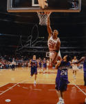 Scottie Pippen Autographed *Silver 16x20 Dunking In White Photo- JSA Auth
