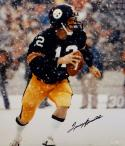 Terry Bradshaw Autographed Steelers 16x20 Snow Photo- JSA Witnessed Auth