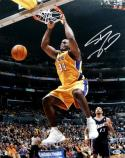 Shaquille O'Neal Autographed 16x20 Lakers Dunking vs Jazz Photo-Beckett Auth *Silver